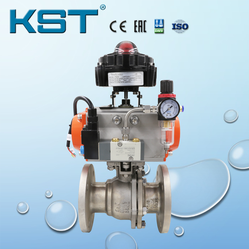 Stainless Steel Pneumatic Ball Valve with Limit Switch Box