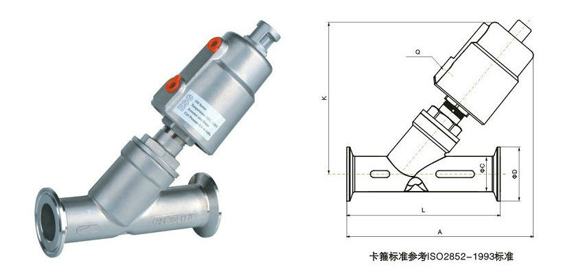 Tri-Clamp Ends Stainless Steel Piston Actuated Valve Single Acting