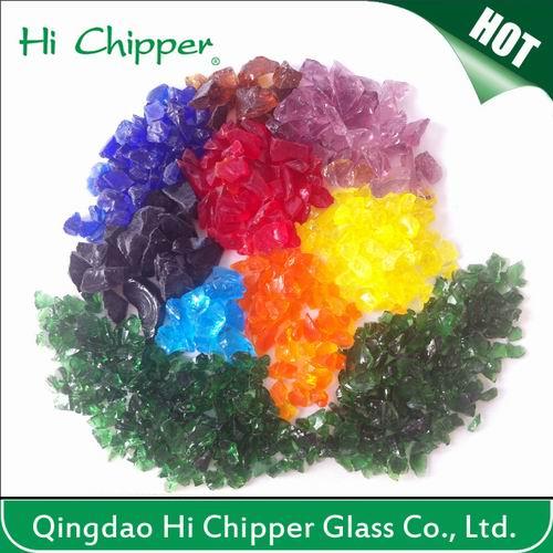 Crushed Dark Amber Glass Chips