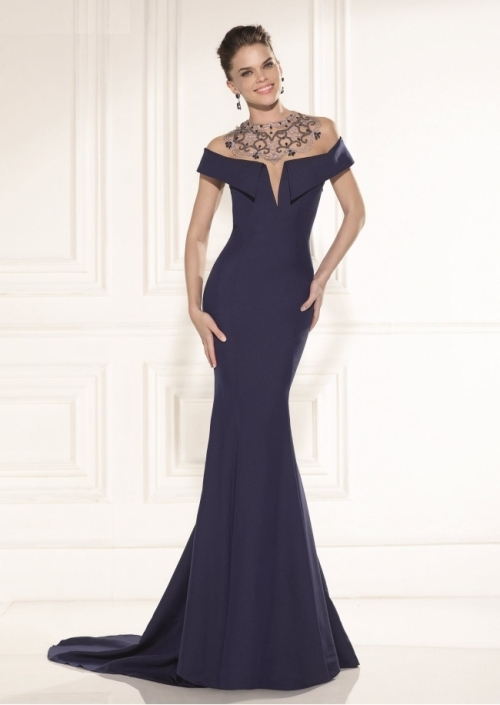 off The Shoulder Satin Beading Blue Mermaid Evening Party Evening Gowns