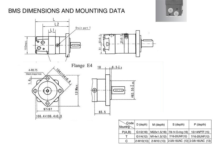Oms/BMS Replacement Parker Tg Hydraulic Orbital Motor for Combine Harvester