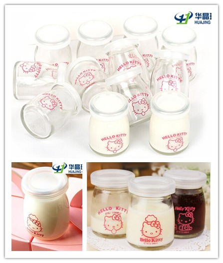 Decal Pudding Glass Milk Jar with Cork