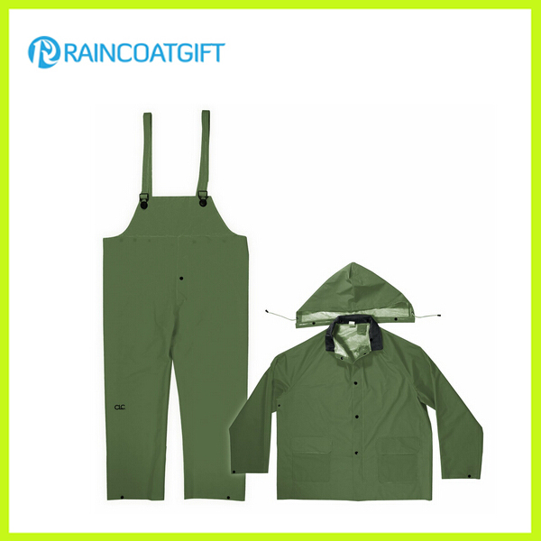 Durable PVC Polyester PVC Bib Rainsuit Rpp-004