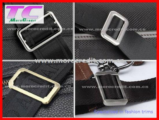 Brushed Nickel Rectangle Shape Metal Slider for Garment Accessories