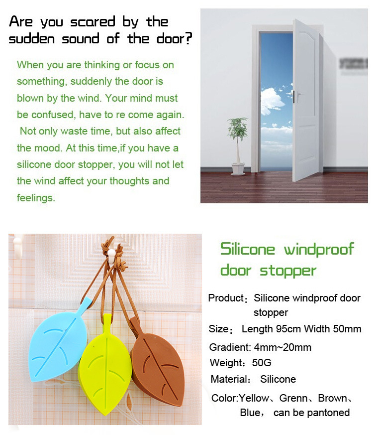 Colorful Creative Leaf Shape Baby Hand Safety Silicone Door Stopper with Hang Rope
