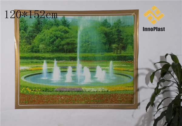 Decorative Vinyl Printed Landscape Transparent Table Cloth
