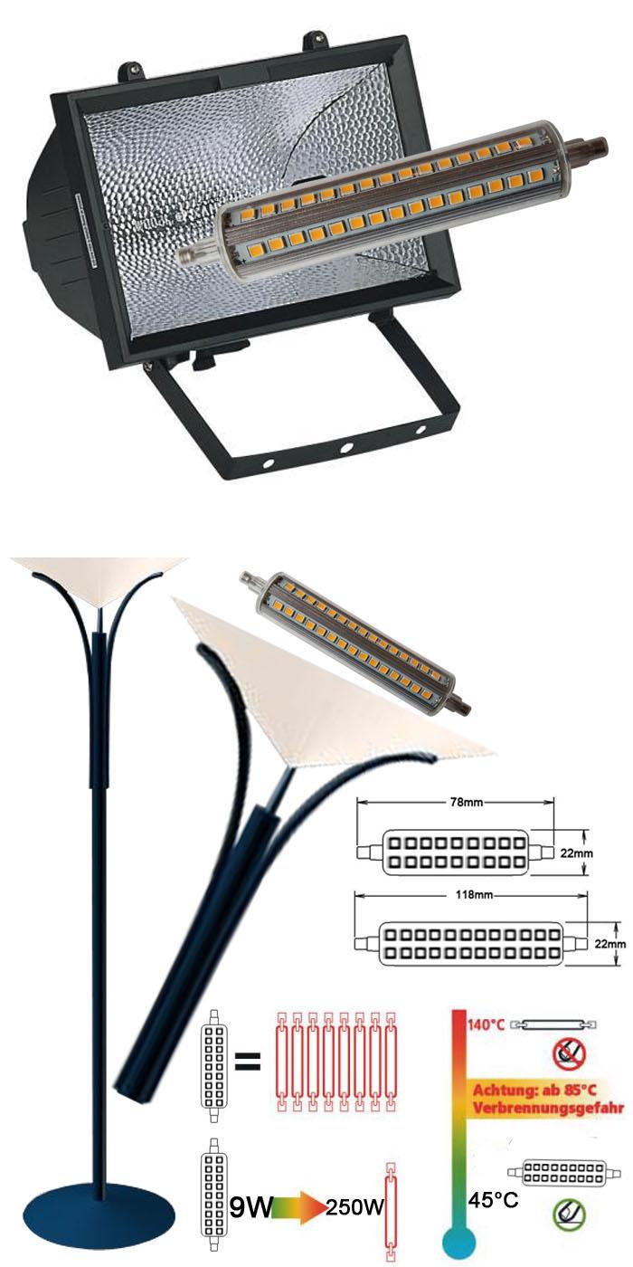 LED R7s LED Halogen Bulb 118mm 9W 1080lm