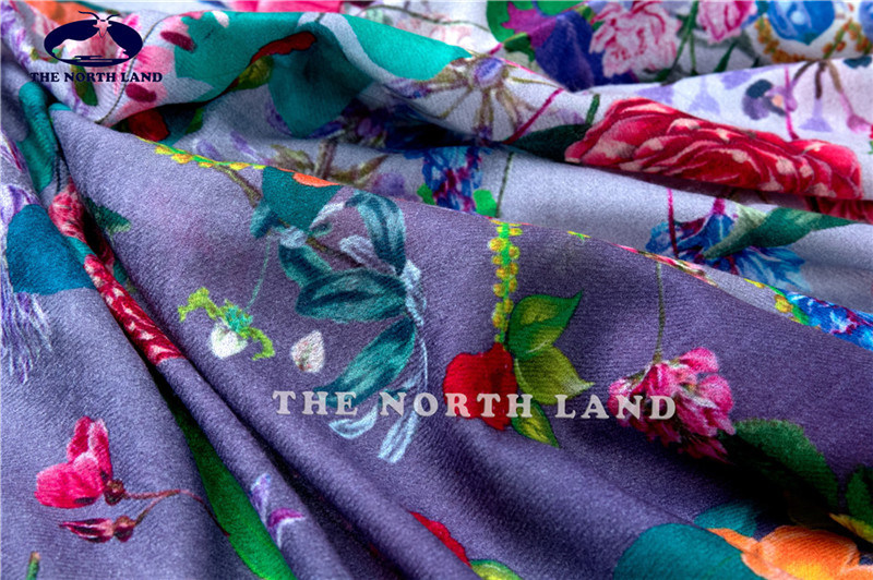 Extra Fine Water Soluble Merino Wool Shawl with Digital Prints