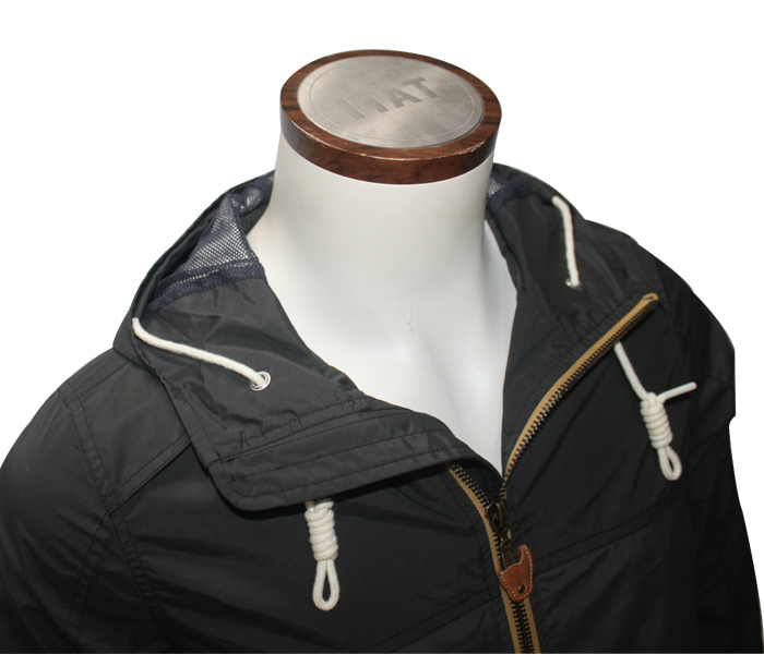 Zipper Through Nylon Short Plain Flight Men Bomber Hood Jacket