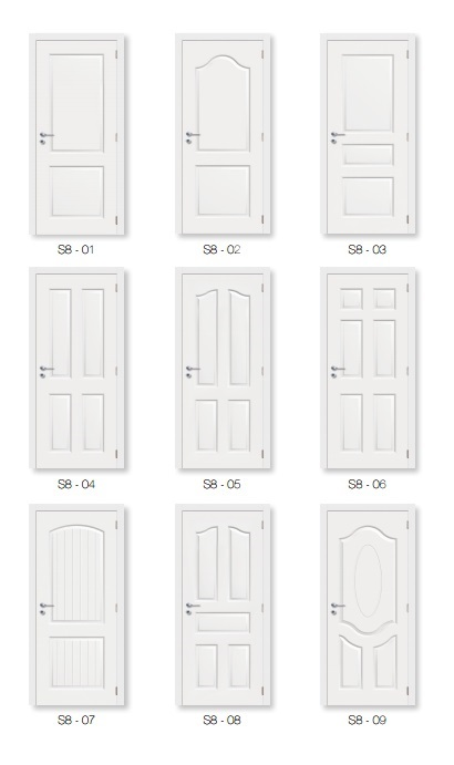 Interior MDF/HDF White Primed Moulded Door S8-06