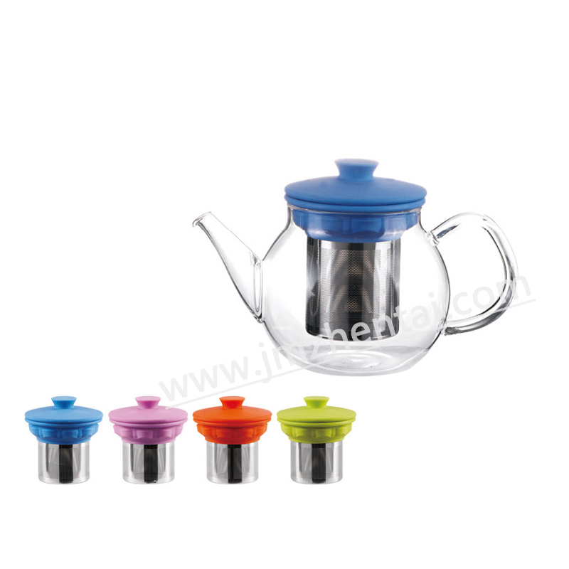 Hot Selling Christmas Gift Borosilicate Glass Teapot and Cup in One with Stainless Steel Infuser