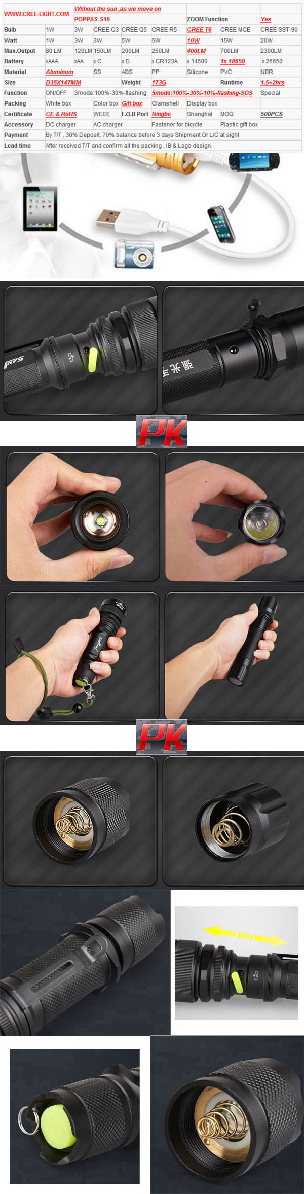 Telescopic Zoom CREE T6 Tactical LED Rechargeable Flashlight
