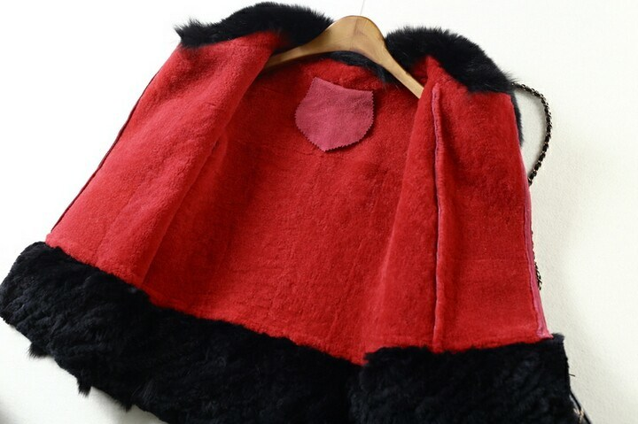 Real Sheep Leather Fox Fur Coat for Women Short Style