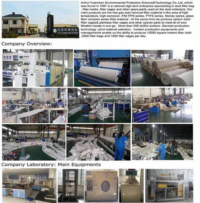 Dust Collector PTFE Nonwoven Filter Bag for Mix Asphalt Plant