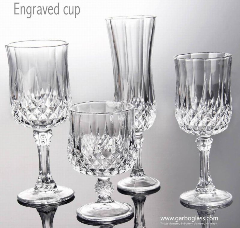 Classical Pressed Engraved Red Wine Glass Goblet (GB040207ZS)