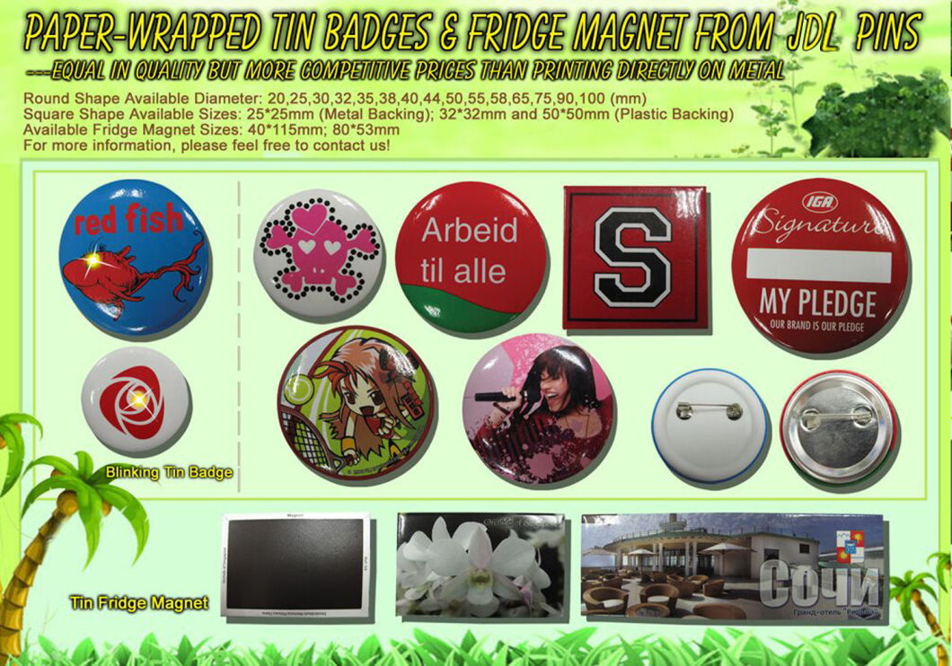 Fashion Custom Metal Red Girl Button Tin Badge as Promotion Gift (016)