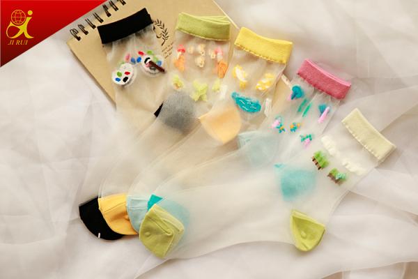 Cystom Women Summer Wear Transparent Sheer Slik Socks