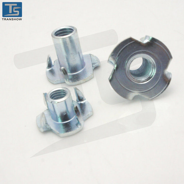 Steel Galvanized Insert Tee Nuts with 4 Prongs for Wood