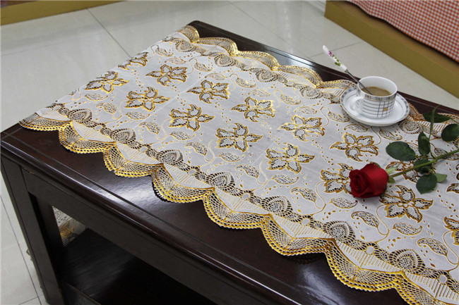 50cm Width Long Lace Gold PVC Vinyl Tablecloth Runner