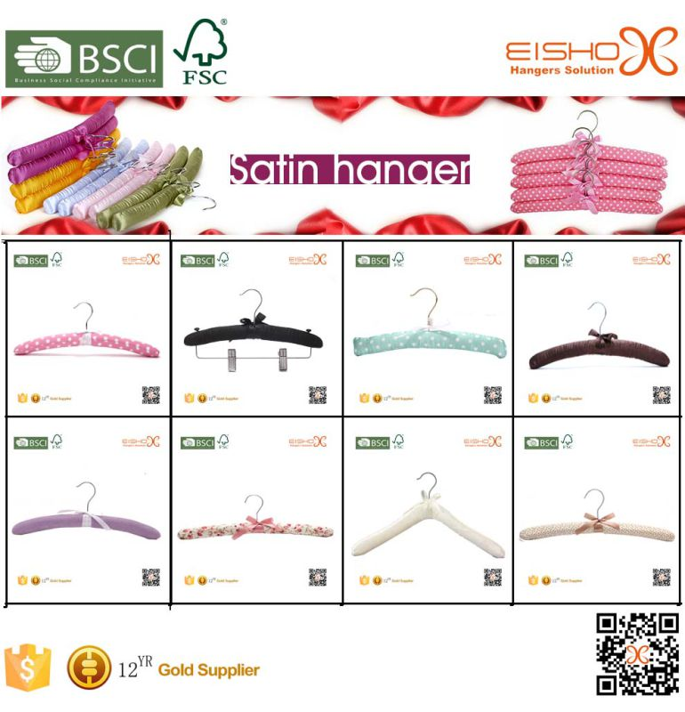 Satin Padded Cloth Hanger with Clips