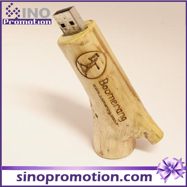 Promotional Wooden Timber Pile Brown 64GB USB Flash Drive