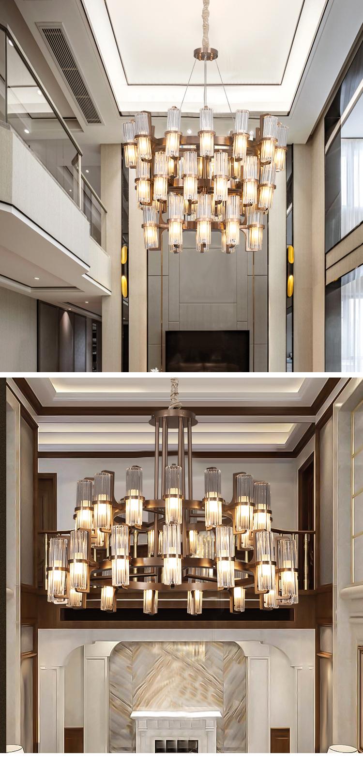 Modern Designer White Indoor Residential Hotel G9 Stainless Steel Crystal Lamp Shade Led Chandelier Pendant Light