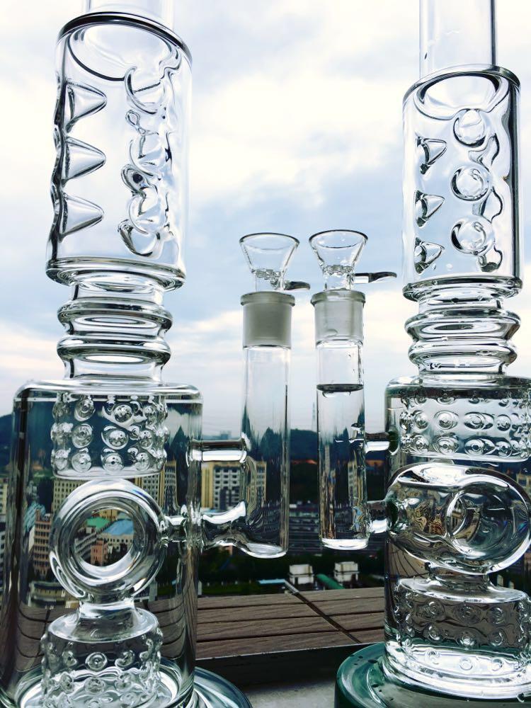 9mm Thick Glass Smoking Pipe Straight Glass Pipe Borosilicate Glass Water Pipe Inner Recycle Perc Smoking Hbking Water Pipe
