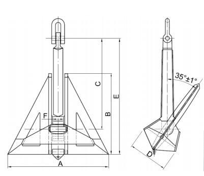 Steel Fabricated High Holding Power Flipper Delta Anchor