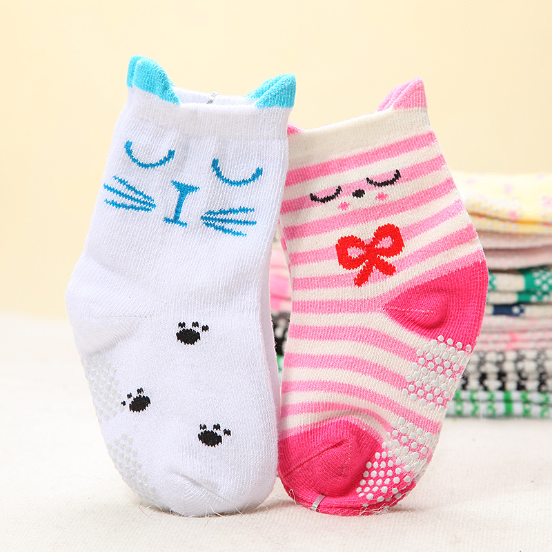 3D Cuff Cute Cartoon Kid Socks with Anti-Skip Dots