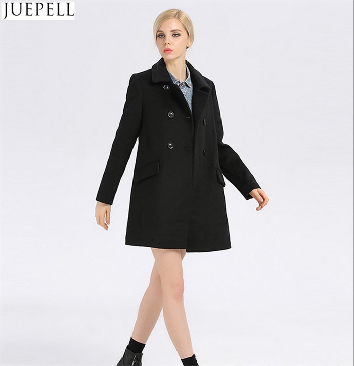 Fashion Ladies Collar Thin Wool Viscose Coat Women European Style Double Breasted Long Sleeve Black Coat
