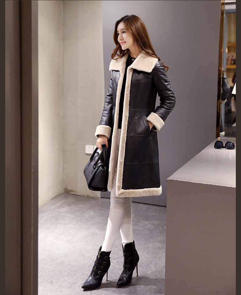 Women's Lamb Leather and Shearling Coat Long Style