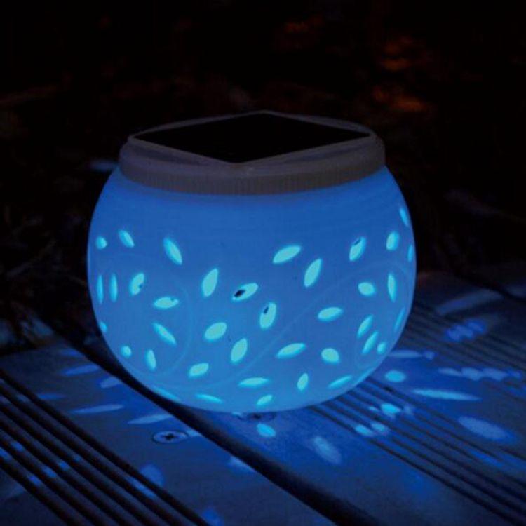 Hollow Ceramic Solar Lights Colorful Garden Decorative Solar Big Apple Lamp Maple Leaf Gifts Garden LED Atmosphere Night Light