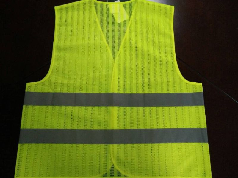 Safety Vest Flu Yellow 100%Polyester Mesh with Stripe