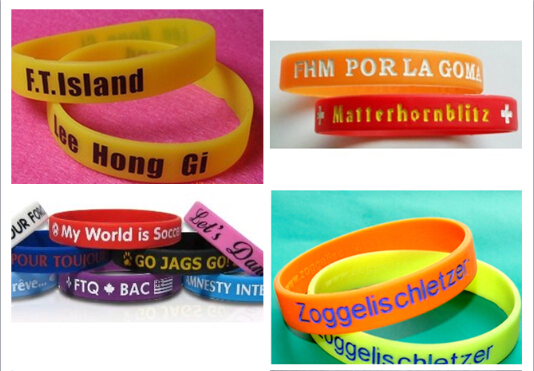 Customized Silicone Wristband with Logo Debossed or Printed