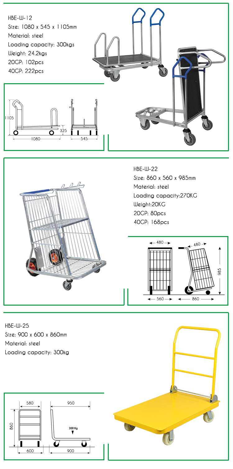 Construction Store and Warehouse Flat Heavy Duty Shopping Cart