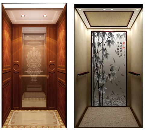 Etched Mirror Hairline Stainless Steel Villa Elevator Home Lift