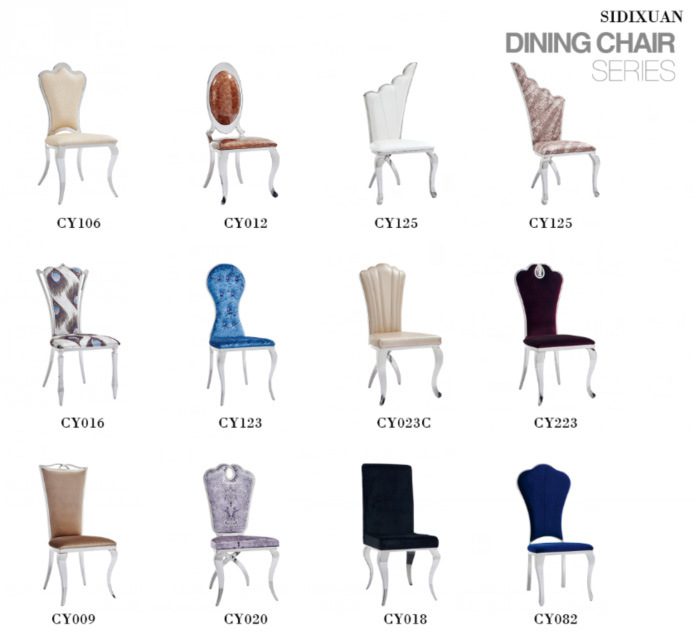 Stainless Steel Flannelette Fabric Cover European Style Dining Chair Modern Hotel Chair