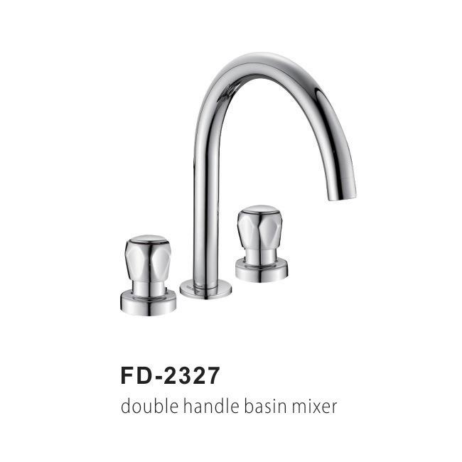 Double Handle Brass Kitchen Sink Faucet