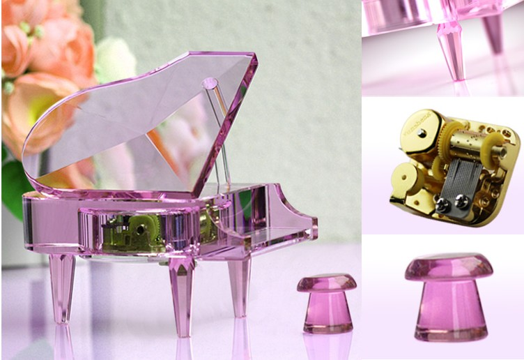 Crystal Handicrafts Music Box, Crystal Piano, Crystal, Piano
