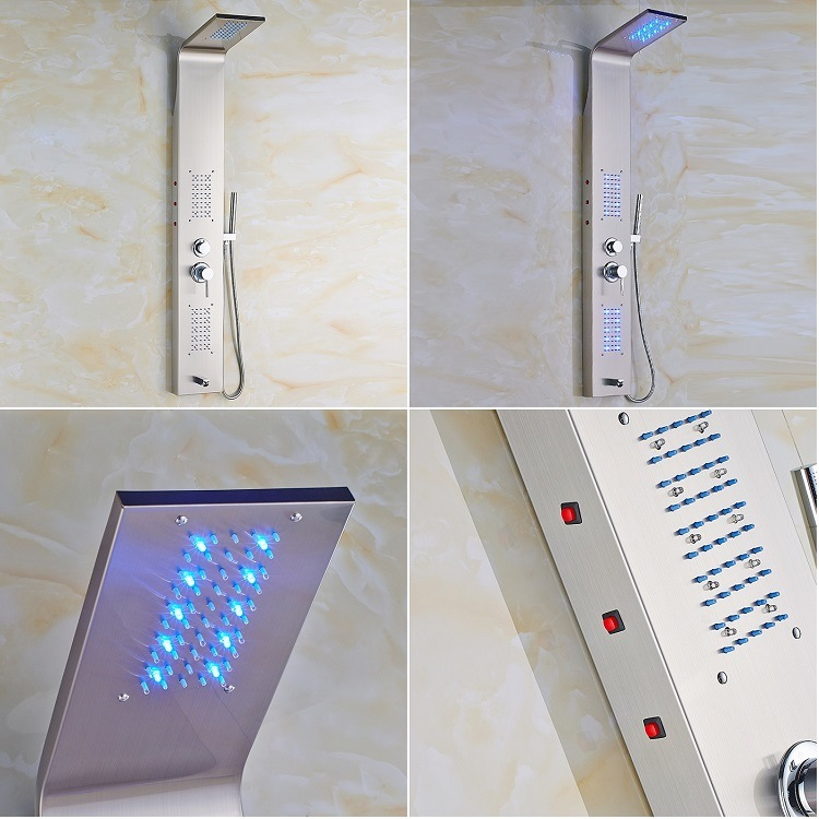 FLG Fashion Wall-Mounted Colorful LED Stainless Steel Bathroom Shower Panel