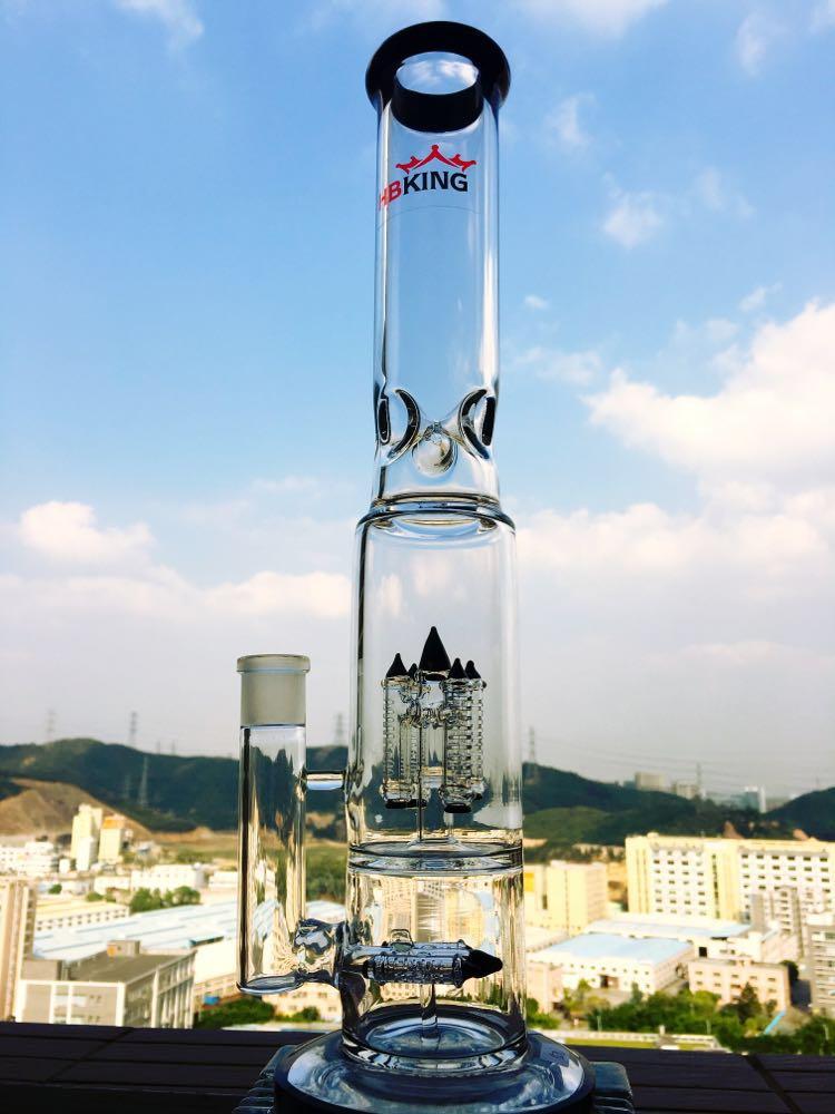 Recycle Glass Smoking Pipe Hbking Glass Water Pipe Cheap Perc Smoking Pipe Honeycomb Glass Water Pipe Rocket Inner Perc Smoking Pipe Hb-K6 Straight Glass