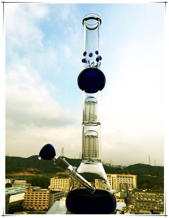 Hb-K36 2*8 Arm Tree Base Beaker Perc Sphere Shape Glass Smoking Water Pipe
