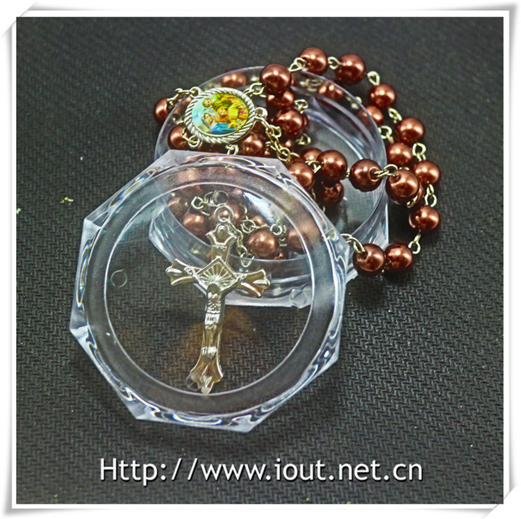 Religious Metal Packing Box, Round Leaf Box, Catholic Box, Rosary Box (IO-p034)