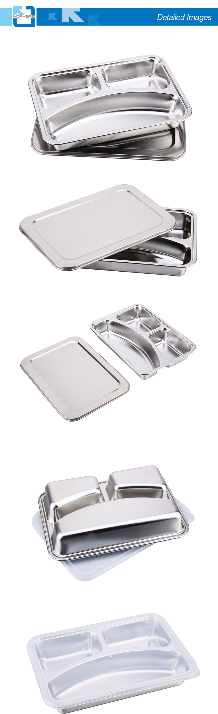 3 Compartment Stainless Steel Food Tray Plate for Kids