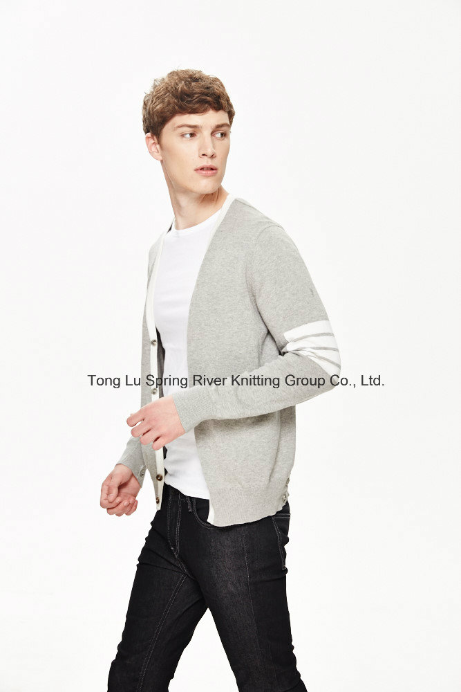 2016 V Neck 100%Cotton Men Cardigan