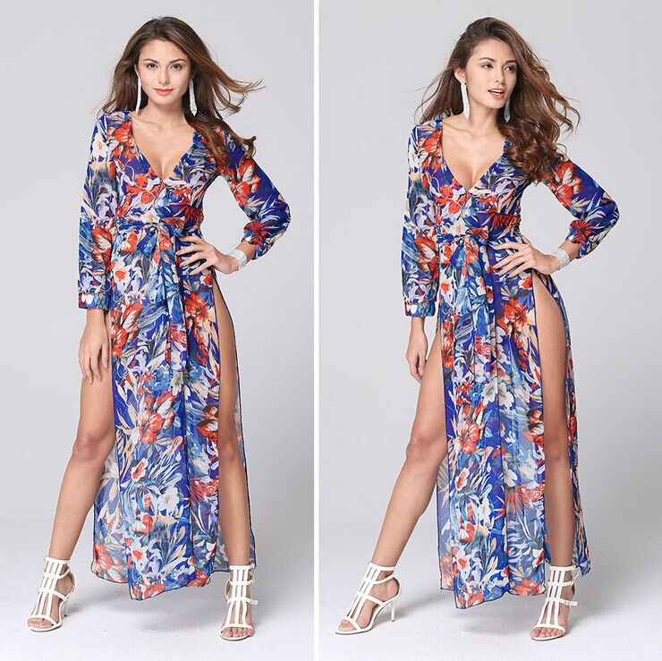 Sexy Casual Dress Long Sleeve Deep V Neck Two Split Printing Long Maxi Dress