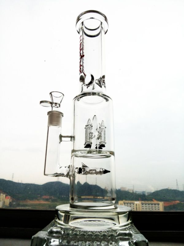 9mm Thickness Quality Smoking Pipe Rocket Prec Glass Water Pipe Inliner Percolator Hbking Water Pipe