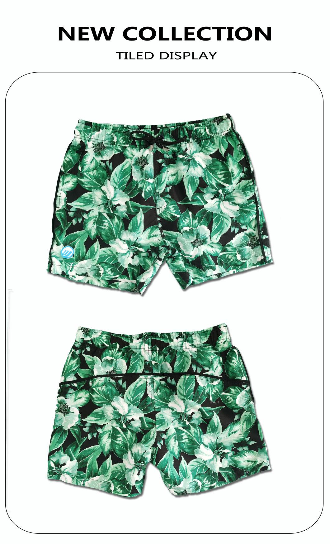 140GSM 100% Polyester Digitaldruck Schnelltrocknende, vollelastische Taille, kurzes Futter, wasserabweisendes Badeshort für Männer