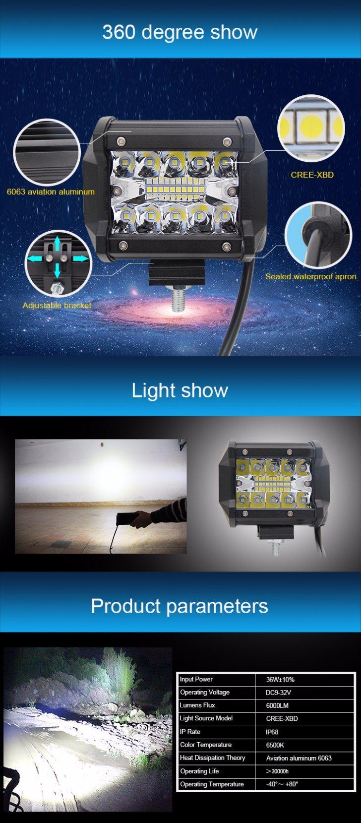 Hot Selling 4inch Spot Flood Combo Mini LED Light Bar 36W LED Light Bar 12V 24V Jeep Offroad LED Light Bar