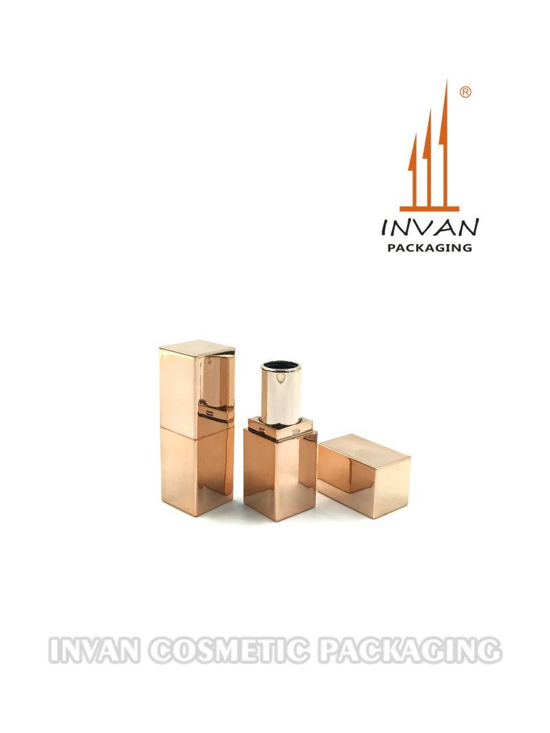 Mini Square Shiny Rose Gold or Soft Rubber Coating Lipstick Tube